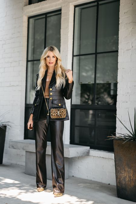 Wear your confidence as an accessory ➰   What type of clothing makes you feel the most confident and like the best version of yourself? Whatever that is for you WEAR IT OFTEN!   For me, I love wearing leather, adding a third layer, and heels always make me FEEL my best!   Needless to say, I feel amazing when wearing this gorgeous vegan leather chocolate brown suit. I've worn the jacket separate with jeans and love the way that looks too. They both run tts, I'm wearing a size 0 in the blazer and a size 2 in pants.   Make it a beautiful day! 🤎  #LTKstyletip #LTKworkwear #LTKSeasonal