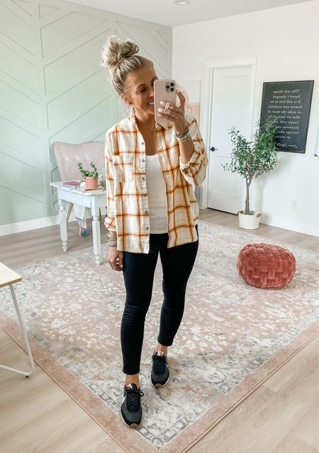 Long sleeve flannel button down shirt from Target in yellow plaid. Wearing size medium. $20, comes in lots of color options. Also wearing the perfect pant leggings from Spanx. Use SARAHJOYxSPANX for 10% off and free shipping! Wearing medium in these leggings.
