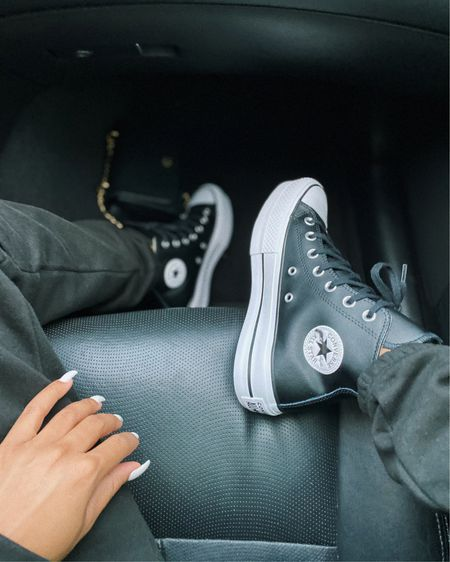 roadtrippin in these, or these.. . which would you prefer, white canvas or black leather? - shop my platform fetish here http://liketk.it/36JEe #liketkit @liketoknow.it