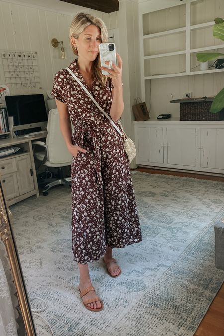 Red dress try on 🎉  Love the chocolate color of this jumpsuit!