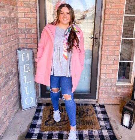 Spring cold weather outfit bright colors Kate spade fun bubbly pink coat red dress boutique top hair scarf superga sneakers   #LTKSeasonal #LTKunder100 #LTKshoecrush