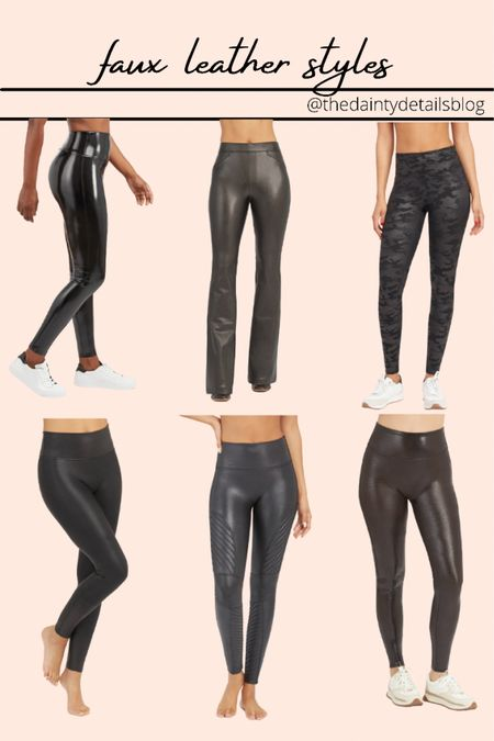 My favorite spanx faux leather leggings and pants! I have all of these and can't recommend enough!  I wear small petite in the leggings, but could have done xs petite in the flare pants and patent leather leggings   These are perfect to wear for the holidays — v comfy, but look more dressed up than regular leggings!  #LTKSeasonal #LTKHoliday #LTKunder100