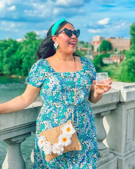 Spring is here and this teal floral midi dress with square neckline and puff sleeves is an essential Shot Girl Summer staple🙌🏽 True to size or size down! I made this flower purse, but I've linked the base, along with similar accessories below! #liketkit @liketoknow.it http://liketk.it/3et1k #LTKtravel #LTKstyletip #LTKunder100