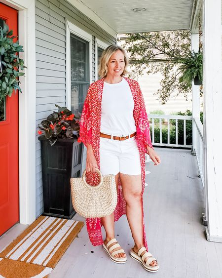 Casual everyday summer mom outfit featuring white shorts, a long red pink kimono, a white tank top, woven sandals, and a straw bag #teacher #summer #kimono #white #red #pink #shorts #whitedenim #whiteshorts #wovensandals #casual #travel #weekend http://liketk.it/3hOxQ @liketoknow.it #liketkit