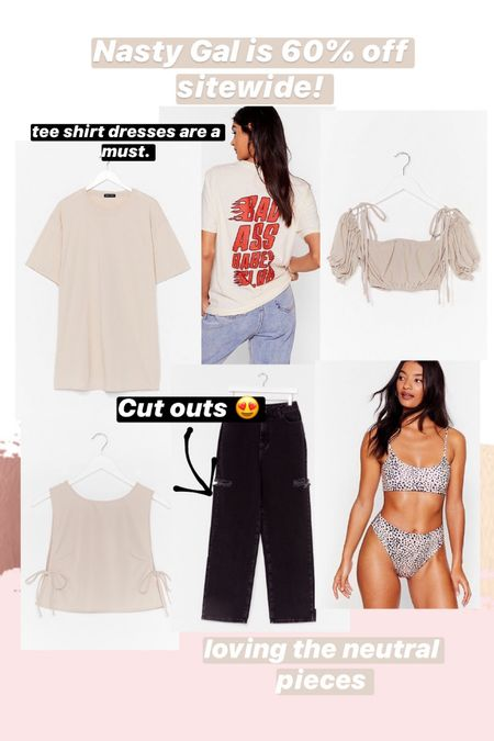 I'm loving neutral closet pieces right now and Nasty Gal has some great closet staples. A T-shirt dress, crop top, graphic tee and more. Love this pieces to style multiple ways!   #LTKstyletip #LTKswim #LTKDay
