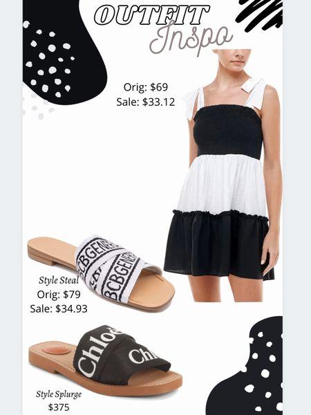 Outfit inspiration Outfit idea  Colorblock Sundress Slide sandals Black & white   #LTKshoecrush #LTKstyletip #LTKsalealert