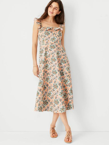 Shop this gorgeous summer dress that is on major sale! It's the prettiest fabric and looks like Reformation for a fraction of the price! I'd recommend sizing down one size. Linking some other amazing dresses as well.  . . . Linen dress, floral dress, ruffle, midi dress, a-line dress, summer outfit, sundress, on sale, under 100 #LTKunder100 #LTKstyletip #LTKsalealert #liketkit @liketoknow.it http://liketk.it/3kl0p