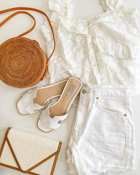 All white summer outfit ✨ These are two of my favorite summer bags. The woven crossbody is old but I linked a nearly identical Amazon option. The woven clutch is by Hunting Season, and it's almost sold out everywhere so I linked similar! Shorts and sandals run TTS for me.   all white summer outfit, white blouse, summer tops, white sandals, steve madden sandals, summer clutch, hunting season bags, designer bags  #LTKDay #LTKunder100 #LTKSeasonal