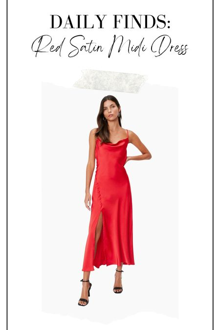 Red satin cowl neck midi dress, holiday dress, red dress, party dress, wedding guest dress   #LTKHoliday #LTKstyletip #LTKunder50