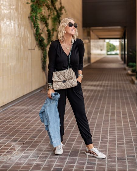 One of my favorite affordable fall looks. Sneakers are under $40 and jumpsuit is 15% off with code NIKKI15    #LTKunder100 #LTKshoecrush #LTKsalealert