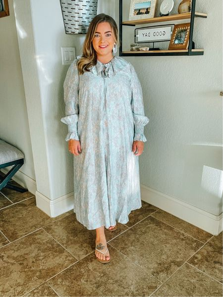 Flow-y and a scalloped collar are two of my favorite things.  Although this dress is new and I'm wearing it for fall, I will absolutely be pulling it out for Spring.  I recommend sizing down in this, I'm in a large.  #LTKstyletip #LTKworkwear #LTKunder50