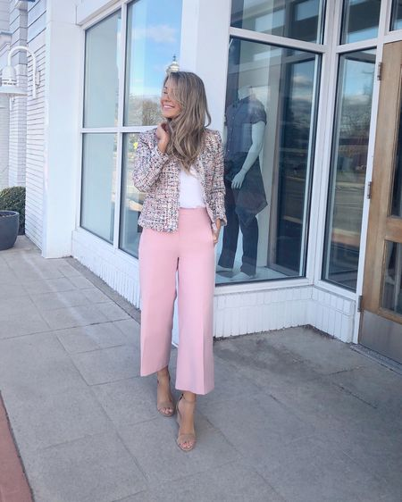 Spring outfit! 🌸 Ann Taylor tweed jacket Ann Taylor pink wide leg pants Ann Taylor pink pants Casual outfit for spring Business causal outfits Plain white t-shirt Suede wedge sandals  #liketkit @liketoknow.it http://liketk.it/2MZo4 #LTKworkwear #LTKunder100 #LTKspring