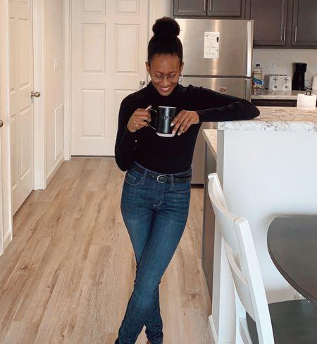 Coffee first #coffee #coffeemug #mug #jeans #fall #drink #denim #falloutfit #turtleneck #black  #LTKSeasonal #LTKunder50 #LTKGiftGuide
