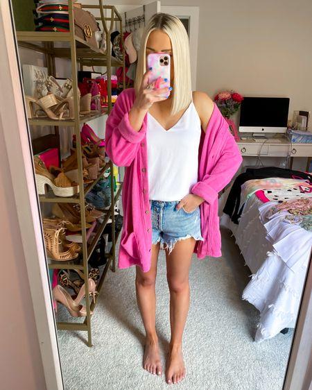 Keep on walkin pink cardigan (XS) with Parker vintage cutoff shorts (size: 24)! Size down!! http://liketk.it/3jCTu @liketoknow.it #liketkit