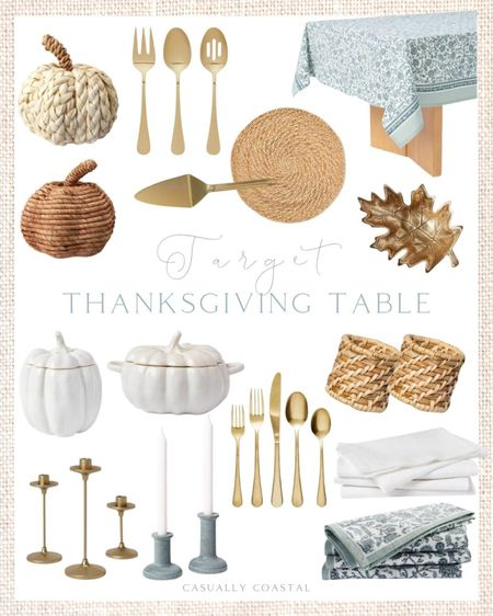 Thanksgiving will be here before you know it, so avoid the last minute scramble and pick up everything you need now for your Thanksgiving tablescape. Target has lots of affordable linens, serving pieces and table decor so grab them now while they are still stocked! - home decor, decor under 50, home decor under $50, fall decor, fall decorations, fall home decorations, coastal decor, beach house decor, beach decor, beach style, coastal home, coastal home decor, coastal decorating, coastal interiors, coastal house decor, home accessories decor, coastal accessories, beach style, blue and white home, blue and white decor, neutral home decor, neutral home, natural home decor, Thanksgiving table, Target home, Target finds, Target decor, Target home decor, napkin rings, woven napkin rings, Thanksgiving tablecloth, Thanksgiving cloth napkins, Thanksgiving decor, serving bowls, pumpkin serving bowls, gold silverware, brass silverware, brass candleholders, gold candleholders, candlesticks, pie server, serving utensils, woven pumpkins, rattan pumpkins, Target Thanksgiving, fall tablescape, fall table decor, thanksgiving table decor  #LTKHoliday #LTKhome #LTKfamily