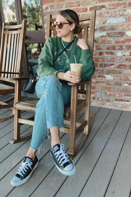 Anine Bing Sweatshirt: medium  Frame jeans: TTS  Converse: TTS
