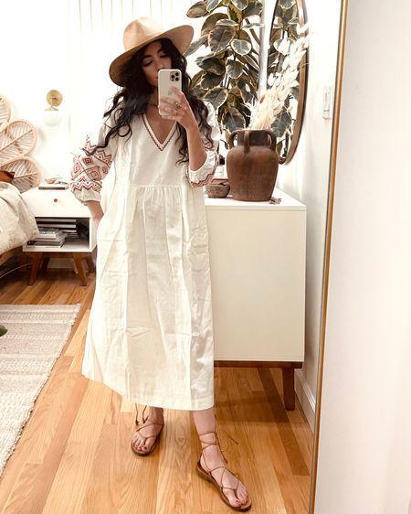 Bohemian embroidered dress + straw hats and sandals combo http://liketk.it/3fc85 #liketkit @liketoknow.it