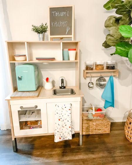 """How stinkin' cute is this kitchen! 🤩 Tatum is definitely letting it be known that he wants to be more independent and I'm here for it 🧡 Say the word buddy! Mamas got you!   Visit my website LeannaMichelle.com  (Link in bio) click on YouTube and watch our latest video """"Fully Functional Toddler Kitchen"""" to see all the things I did to help him.. help me 😆 once Caleb gets here I'll need all the free hands I can get, this kitchen has full running water, a mini fridge, snacks and alllllll the other thangss. Heyooooo! 🙌  http://liketk.it/3fdbp #liketkit @liketoknow.it   #LTKfamily #LTKhome #LTKkids"""