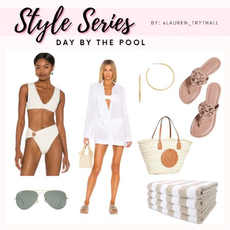 Style Series: Day by the Pool. I love this coverup! Also, this bikini looks super supportive  (Bikinis, Swimsuits  Swim, Pool Outfit, Beach Day Outfit, Coverup, Swimwear, Pool Bag, Beach Bag, Sunglasses, Sandals)  #LTKSeasonal #LTKstyletip #LTKswim