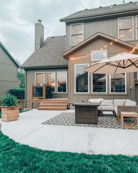 I get lots of questions about our patio. I love this space so much - I love getting to sit out here and enjoy watching the kids play in the yard. I love getting to sit around the fire with friends and talk and laugh. I ordered this rug from Boutique Rugs and it's really the perfect pattern to bring it all together. I had a hard time narrowing it down to this one because they have such a wide selection and great prices! I plan on blogging soon on some more of the details to this space. If you've had questions - drop them in the comments!    #StayHomeWithLTK #LTKspring #LTKhome @liketoknow.it http://liketk.it/2PFEz #liketkit