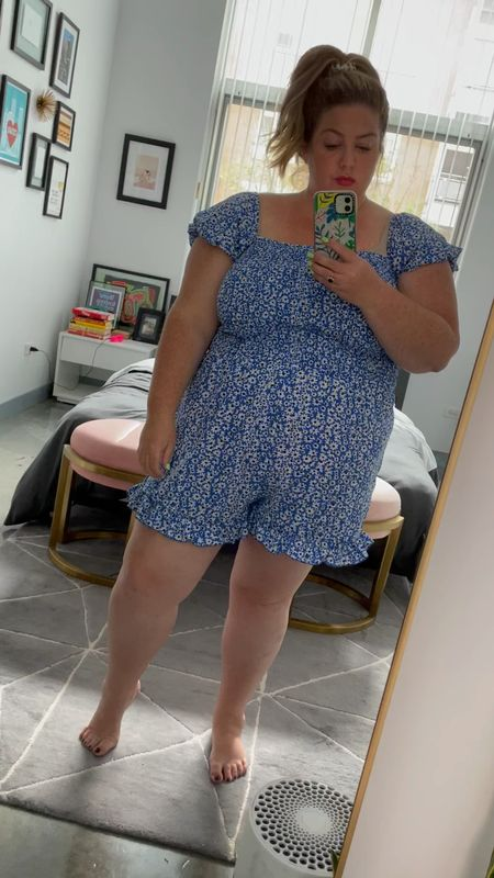 the cutest little romper from Amazon! super lightweight, cheap, and very stretchy! I am in a size XXL and am normally a 2X/size 18. perfect for travel!   #LTKunder50 #LTKcurves #LTKtravel