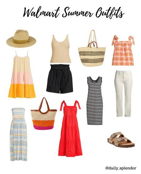 Walmart summer outfits  #summerdress #strawbag #walmartdress #walmartwomensclothes #sandals #summerhat  #LTKSeasonal #LTKunder50 #LTKstyletip