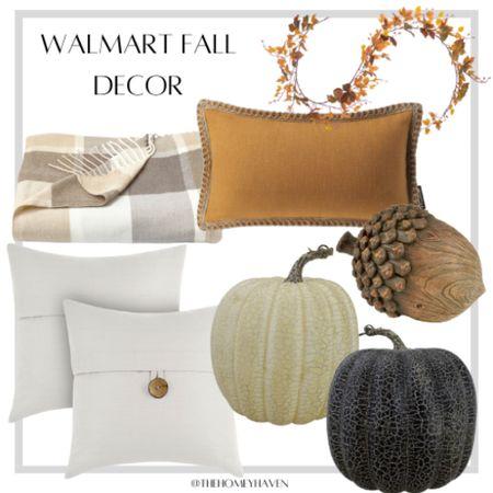 Walmart finds, home decor, living room decor, fall decor, pumpkins, throw pillows, plaid throw blanket, leaf garland, home  #LTKunder50 #LTKSeasonal #LTKhome