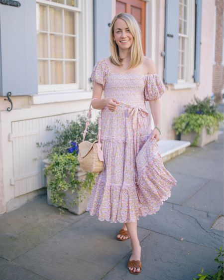 Spring dress season is here! This smocked floral dress from Love Shack Fancy has my vote! It would be perfect for an event at a summer wedding weekend! Plus, these sandals are my favorites http://liketk.it/3czQs @liketoknow.it #liketkit #LTKitbag #LTKshoecrush #LTKstyletip