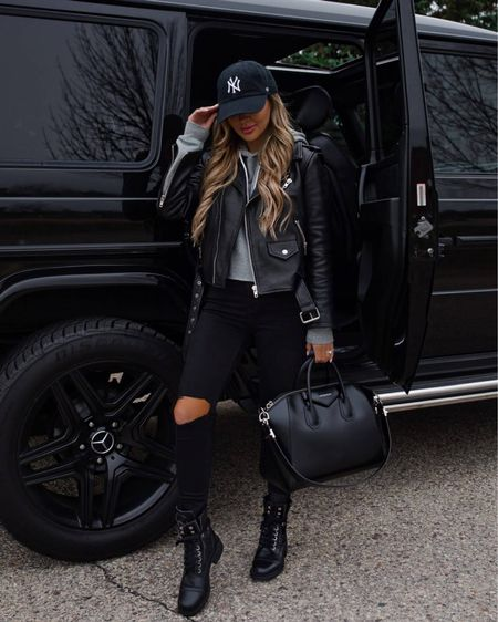 Casual fall outfit  AllSaints leather jacket  Target gray hoodie Topshop Jeans Chanel combat boots   #LTKunder100 #LTKshoecrush #LTKstyletip