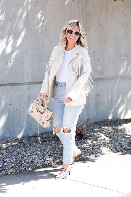 Fall Style // fringe jacket, white t-shirt, high-waisted straight cut denim, balenciaga, sunglasses, and strappy heels   #LTKshoecrush #LTKstyletip #LTKSeasonal