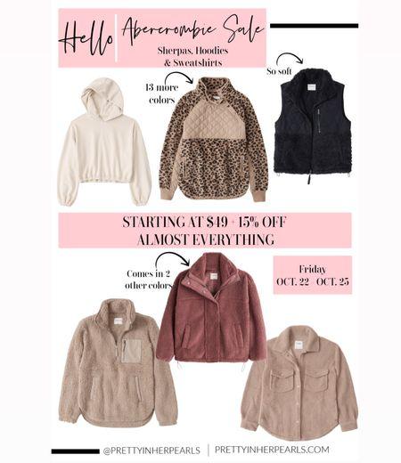 Sherpas, hoodies & sweatshirts on sale at Abercrombie this weekend! You don't wanna miss this! #sherpa  #leopardprint #jacket #shaket #sherpajacket #hoodie #sweatshirt #loungewear #falloutfits # cozyoutfit #ltkseasonal #ltkgiftguide   #LTKsalealert