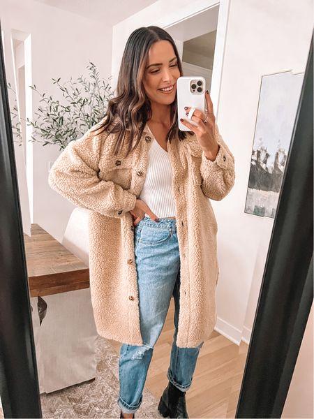 Forever 21 finds: Sherpa coat: true to size, size up for longer sleeve length (M) Sweater tank: true to size (S)  Jeans: true to size, size up for looser fit (29) - Boots: true to size (use code TAYLOR15)   #LTKsalealert #LTKstyletip #LTKunder50