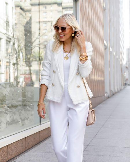 Fall neutrals. Gold jewelry. Fall accessories. White blazer. White joggers. Chanel wallet bag. Workwear.   #LTKSeasonal #LTKstyletip #LTKworkwear