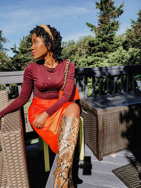 Boots  snakeprint  headbands  chain bag  quilted bag  orange skirt  satin skirt  crop tops  Nastygal  shein  Steve madden  animal prints  fall outfit  #LTKunder100 #LTKsalealert #LTKSeasonal