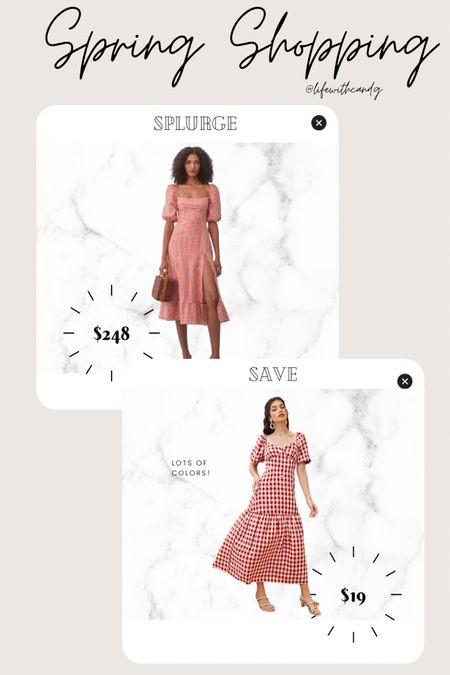 Gingham. Plaid. Peasant style. Milkmaid. Vintage dress. Midi spring summer dress.    http://liketk.it/3dnlB #liketkit @liketoknow.it #LTKstyletip #LTKunder50