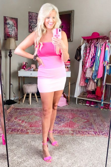 Ombré pink dress size L  Pink heels TTS v comfy!  Kendra Scott necklace under $50 http://liketk.it/3hKTh #liketkit @liketoknow.it #LTKunder100 #LTKunder50 #LTKshoecrush