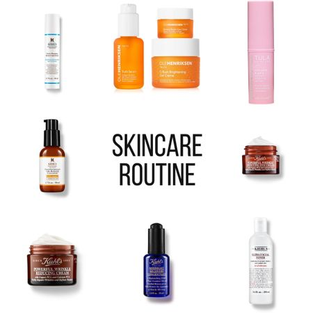 My Skincare Routine  Morning:  Face: Ultra Facial Toner all over Hydro Plumping Serum Ole Henriksen Brightening Cream  Eyes: Rose Glow and Get it Balm Banana Bright Eye Cream   Before Bed: Ultra Facial Toner all over Powerful-Strength Vitamin C Serum (every other night) Powerful Wrinkle Reducing Cream   On the off nights of the Vitamin C Serum, I use the Midnight Recovery Oil after my night cream  Eyes: Powerful Wrinkle Reducing Eye Cream