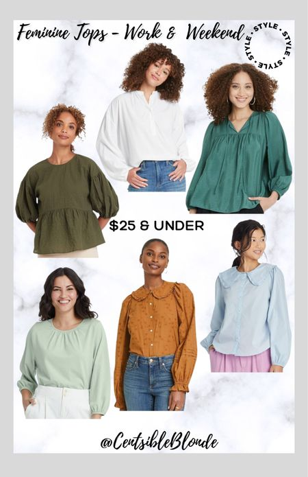 Feminine tops for work and weekend Embroidered tops Fall tops Target tops Target blouses Work tops Collared tops  Affordable tops   #LTKworkwear #LTKunder50 #LTKstyletip
