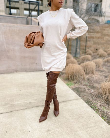 officially time to retire this boots for the season, shop this sweatshirt dress here http://liketk.it/39r14 #liketkit @liketoknow.it