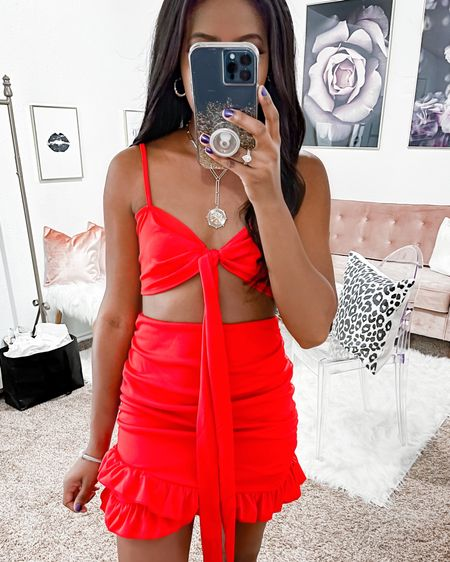 http://liketk.it/3hFZT #liketkit @liketoknow.it #LTKunder50 amazon fashion, found it on Amazon, vacation outfit, bachelorette party, summer outfit, summer style, two piece set, red two piece set, ruffle skirt, front knot tie top, summer dress, vacation beach outfits, summer outfits, sandals, clear heels, studded sandals, Steve Madden sandals.