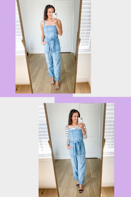 Two ways to wear a denim jumpsuit - summer outfit (add nude colored block heel sandals) - fall outfit- layer over an off the shoulder top with black heels  Wearing xs  @liketoknow.it http://liketk.it/2UJxt #liketkit #LTKstyletip #LTKunder100 #LTKshoecrush