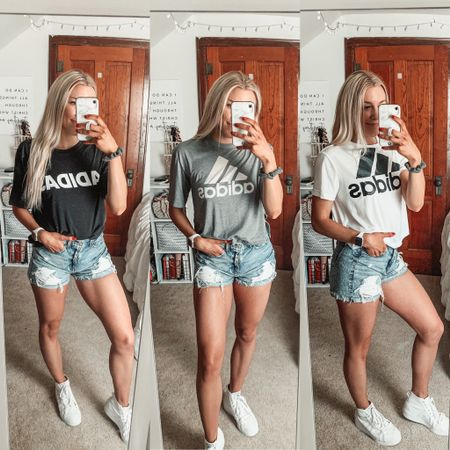 My go-to summer style - graphic tees paired with denim shorts and white sneakers 🤩 love these adidas trefoil shirts so much I had to get it in three colors! American Eagle shorts are last season but I'll link similar options.    #LTKSeasonal #LTKfit #LTKstyletip