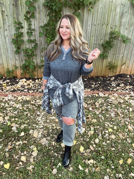 Shirt xl tts Jeans 14w tts Boots tts Flannel 1X tts  #LTKcurves #LTKunder50 #LTKstyletip