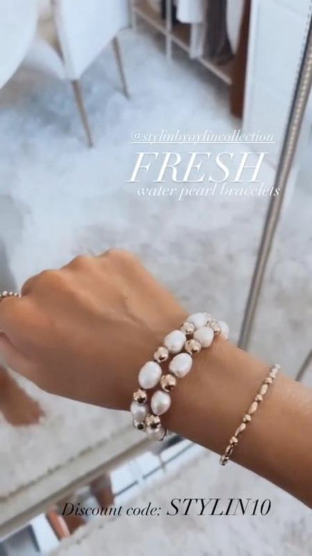 Fresh water pearl bracelet, summer collection, Stylin by Aylin Collection, 14k gold filled jewelry, summer jewelry, summer accessories, use code STYLIN10 at checkout for 10% off   #LTKstyletip #LTKSeasonal #LTKunder100