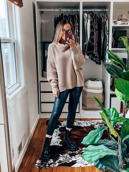 Oversized sweater! Linked a great save option! Size down in free people, wearing xs & mp for spanx! Size down .5 in docs.    #LTKshoecrush #LTKSeasonal