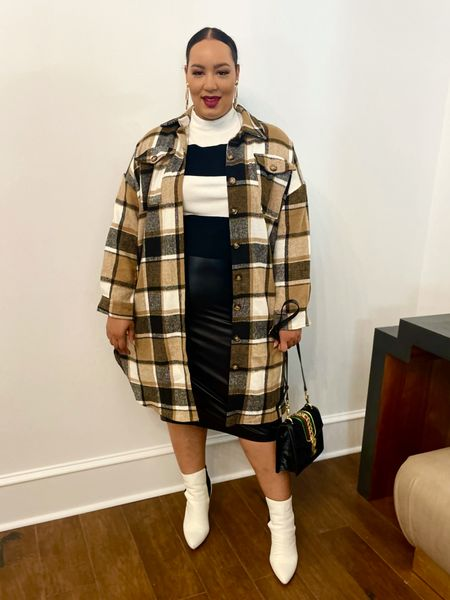 Pairing a shacket with a skirt is so fresh and chic   #LTKcurves #LTKSeasonal