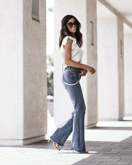Wearing size xs top and size 2 jeans, I'm just shy of 5'7 for reference. Jeans, flared jeans, bootcut, stretch jeans, white top, date night, StylinbyAylin #  #liketkit  @shop.ltk http://liketk.it/3mN5L  #liketkit  @shop.ltk http://liketk.it/3nwRW Follow my shop on the @shop.LTK app to shop this post and get my exclusive app-only content!  #liketkit  @shop.ltk http://liketk.it/3nAcU
