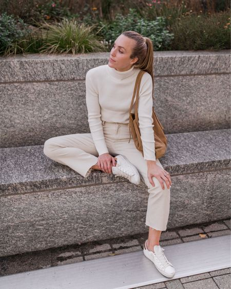 """White Jeans Outfit, White Turtleneck, Ann Taylor, Neutral Outfit  Fall outfit inspo from Banana Republic and Ann Taylor. My white turtleneck is an absolute staple—not too heavy or light, perfect length, and not see through. It fits TTS. Exact white jeans are sold out, but the pair linked is the same color from AT in a similar cut. If between sizes, size down in the jeans. Exact Golden Goose style is sold out, two similar sneakers linked in the """"related"""" section.  #anntaylor #bananarepublic #whitejeans #falloutfitideas #whitejeansoutfit #whitesweater"""