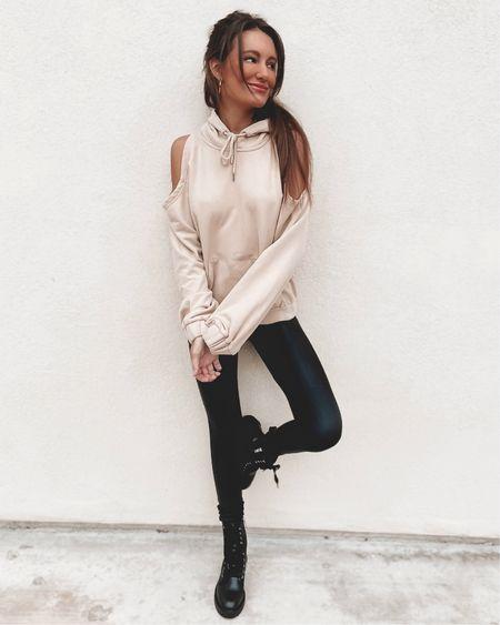 street style look: neutral oversized hoodie, faux leggings, black combat boots, and hoops.🖤 @liketoknow.it    #liketkit #LTKstyletip #LTKunder100 #LTKSeasonal http://liketk.it/38idl