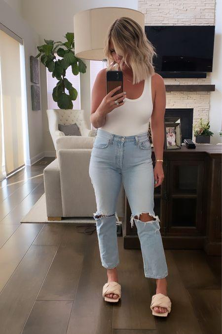 Elevated Casual Summer Look 😎 (Size up in the Agolde denim - I'm wearing a 29)  http://liketk.it/3hI6F #LTKsalealert #LTKshoecrush #LTKstyletip #liketkit @liketoknow.it
